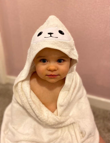 Soft white bamboo hooded towel with sheep face and ears design on the front of the hood