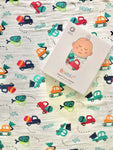 Bamboo muslin blanket with cars and trucks design