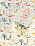 Bamboo muslin blanket with winter animals and trees design