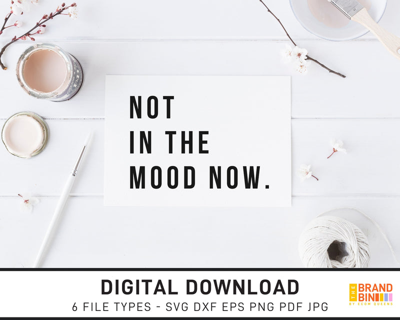 Not In The Mood Now - SVG Digital Download