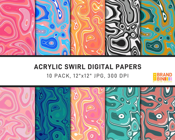 Acrylic Swirl Digital Papers Pack