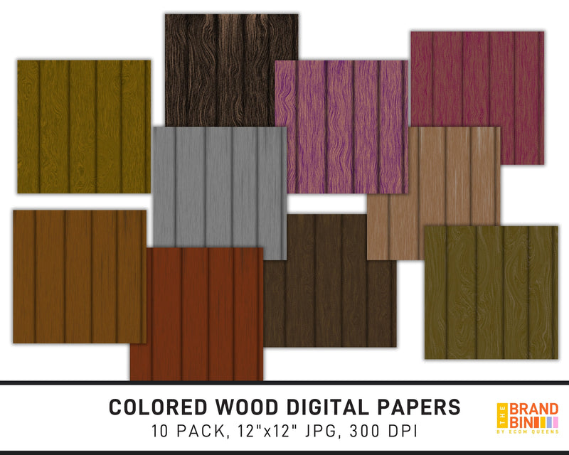 Colored Wood Digital Papers Pack