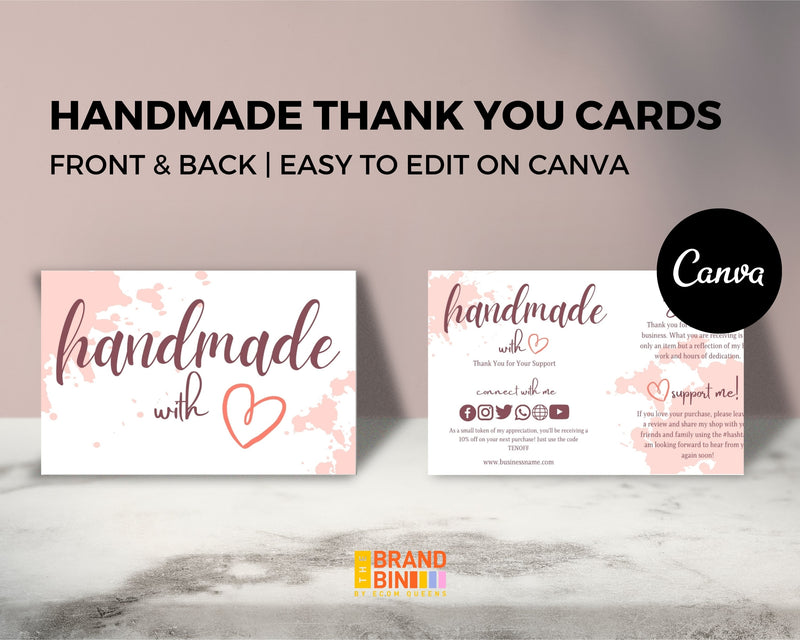 Handmade With Love Thank You Cards