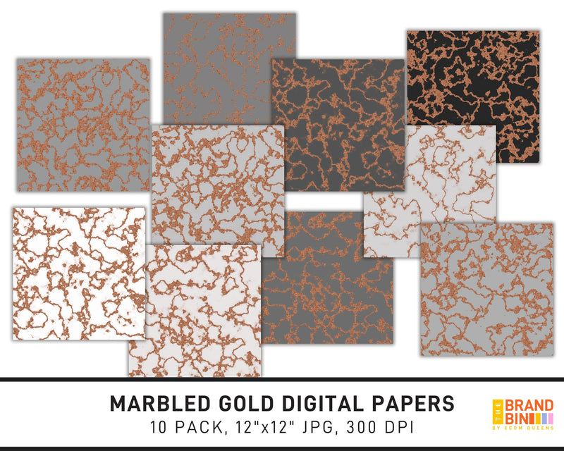 Marbled Gold Digital Papers Pack
