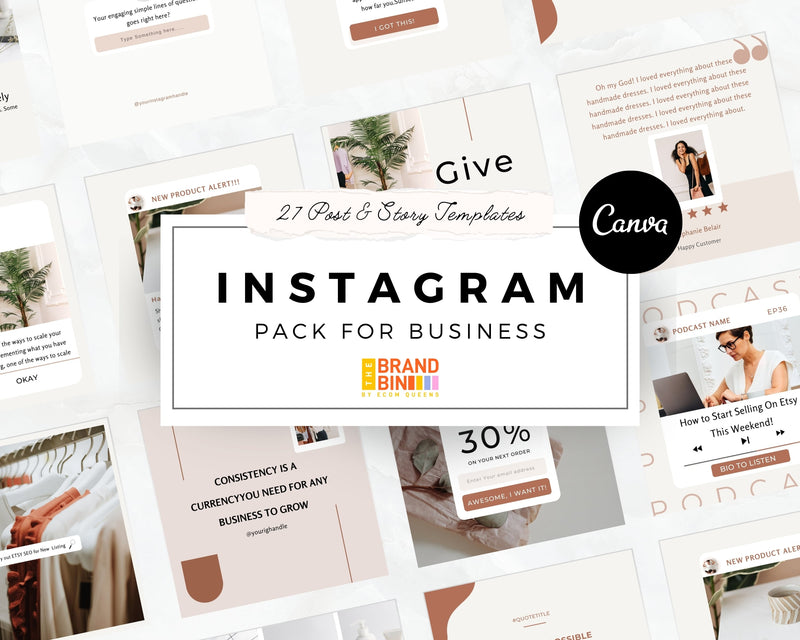 Instagram Template Pack For Business (Posts + Stories)