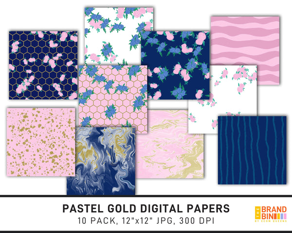 Pastel Gold Digital Papers Pack