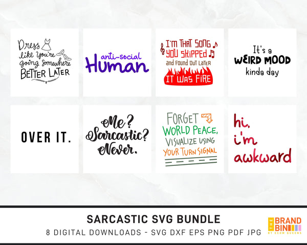 Sarcastic SVG Bundle Digital Designs