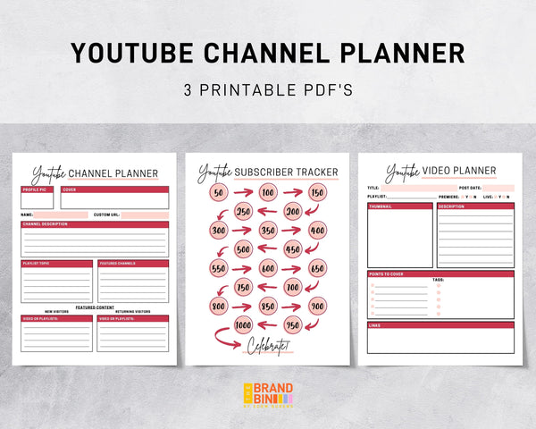 YouTube Channel Printable