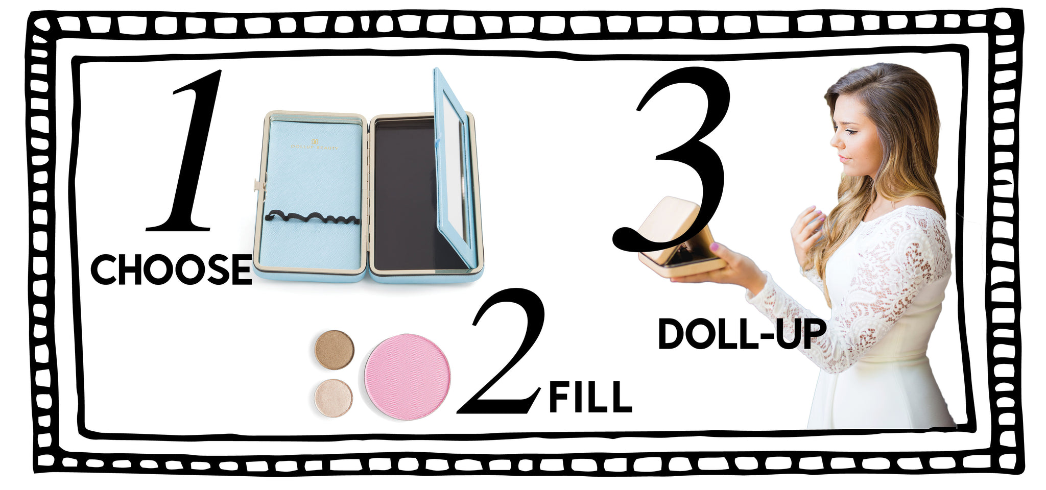Customize a makeup kit with pan only refill eyeshadows, powder, blush, concealer foundation and amore.  Our Dollup Case Makeup organizer is complete with an empty magnetic palette, elastic holding bands to secure beauty accessories and a fold down mirror for makeup vanity on the go or travel.
