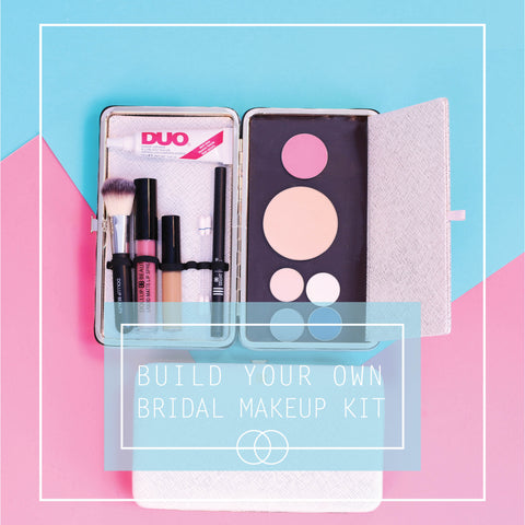 Bridal beauty makeup kit with mascara, makeup brushes, powder, concealer, eyelash glue and eyeliner