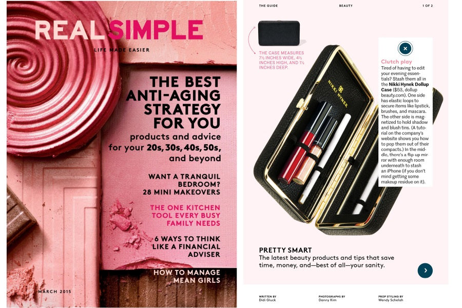 real simple magazine features dollup beauty makeup clutch with naked magnetic palette