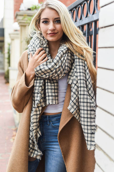 Leto Accessories - Tattersall Plaid Blanket Scarf