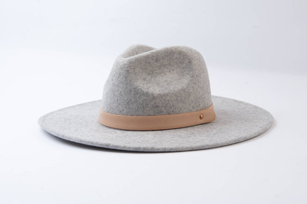 Lucca Couture - Preorder Heather Grey Wool Fedora with Trim