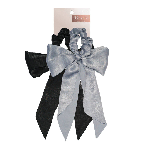 KITSCH - Black/Gray Satin Bow Scarf Scrunchies