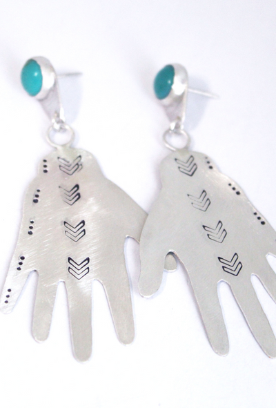 Frida Hand Earrings w/ Turquoise Front View