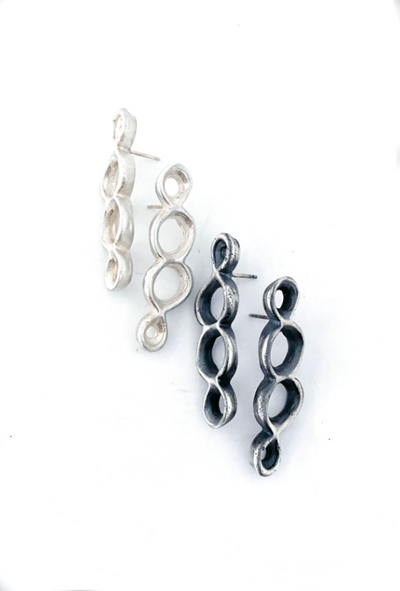 Cell Earrings with four imperfect joined circles in Polished or Oxidized Silver