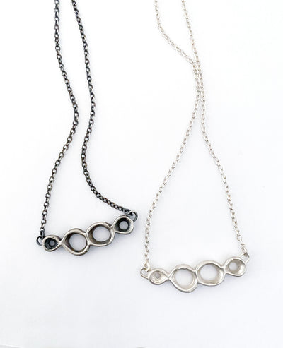 Cell Necklace with four imperfect joined circles in Polished or Oxidized Silver