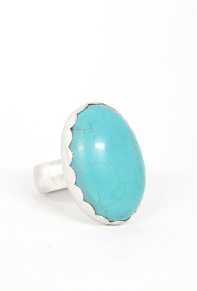 Chunky Turquoise Ring with scalloped bezel, Front and Side View