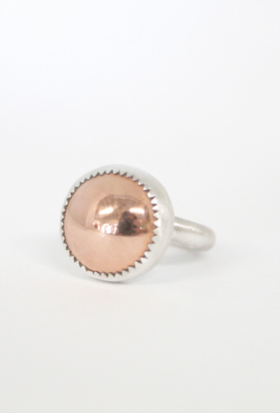 Copper Jewel Ring — Small Front View