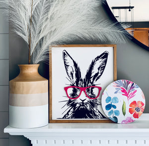 Hipster Bunny with Removable Magnetic Glasses