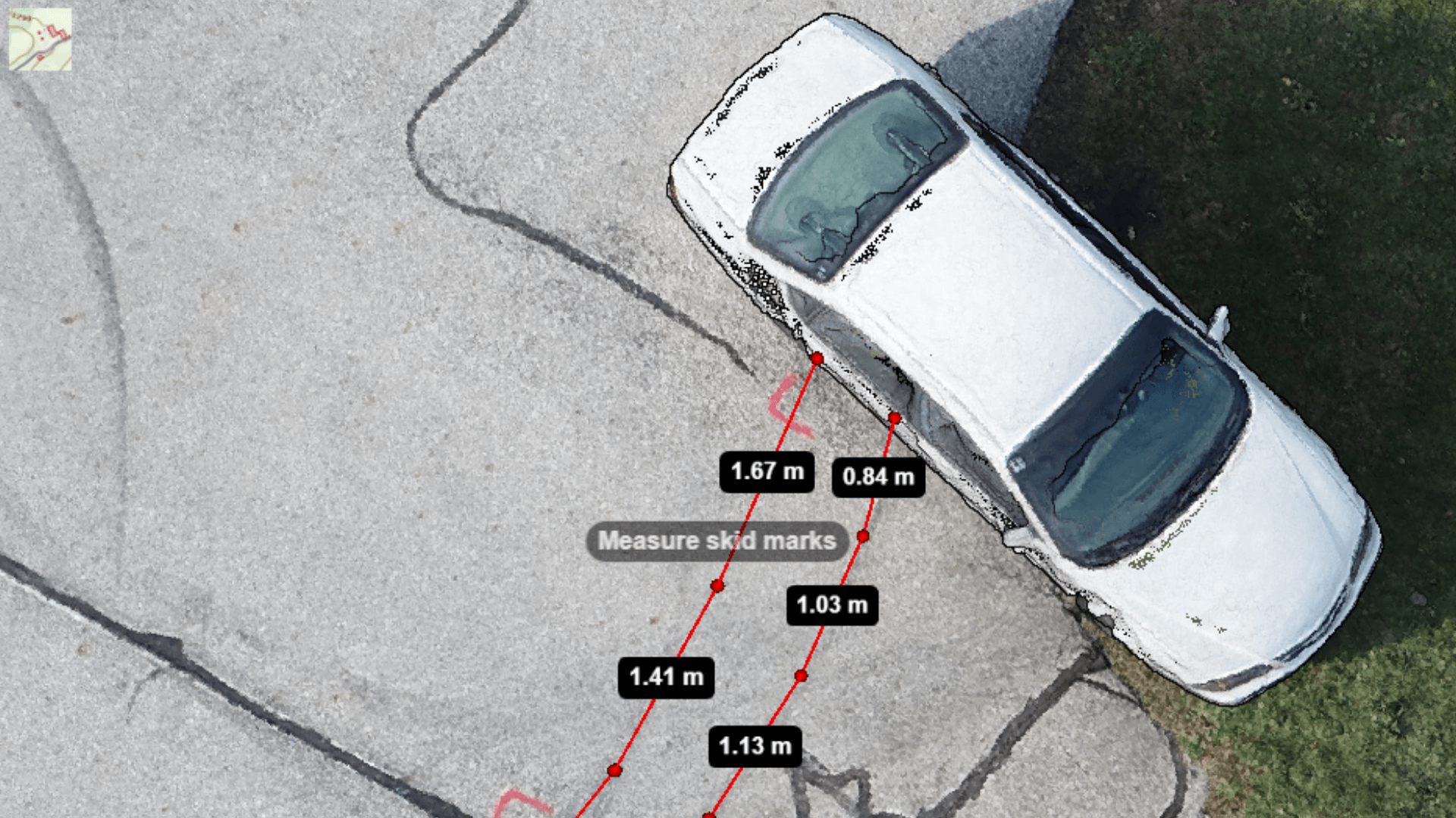 Drone data can be used to measure skid marks after an RTC.