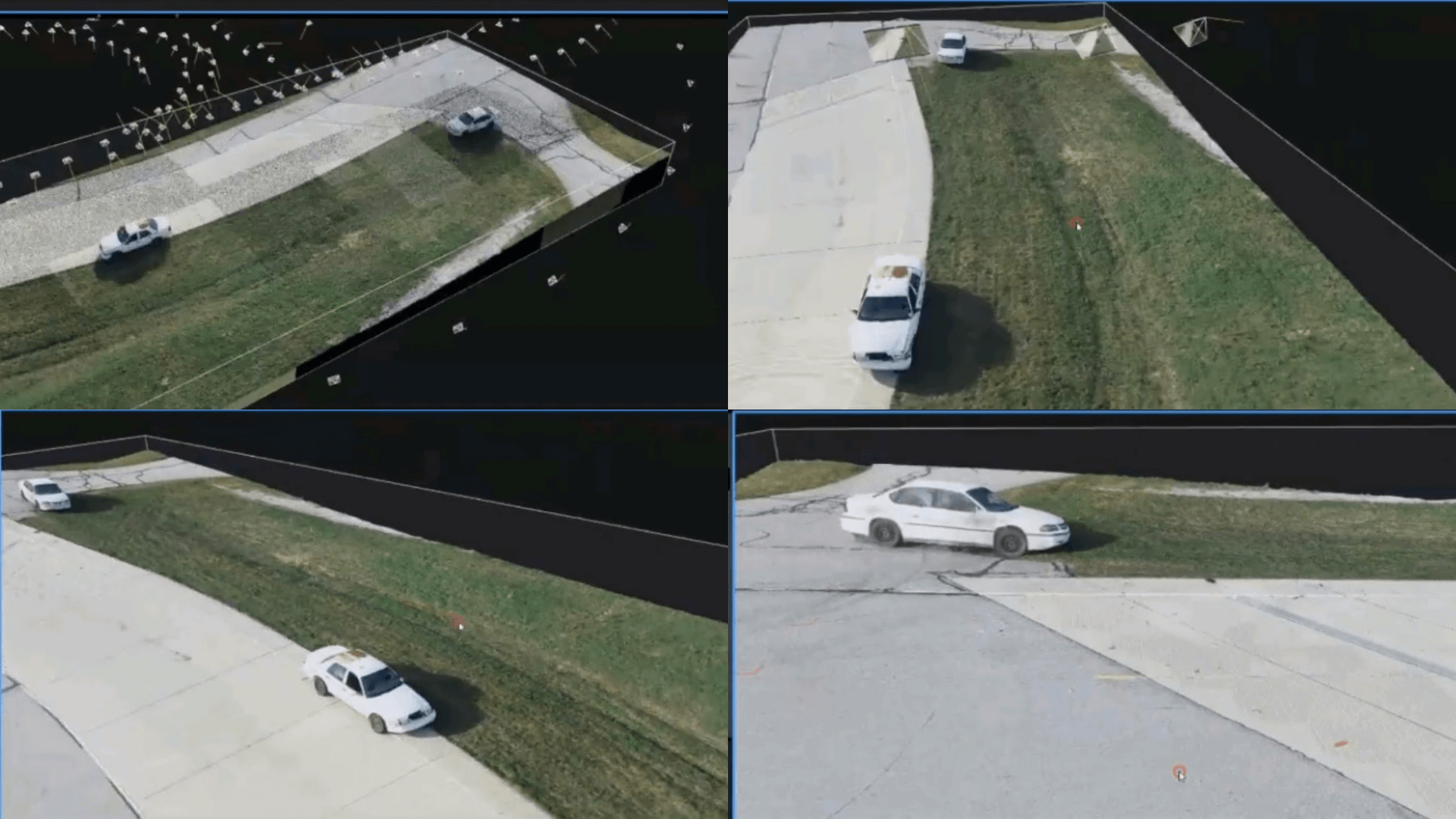 Texturing a point cloud transforms it into a 3D model of a crash scene.