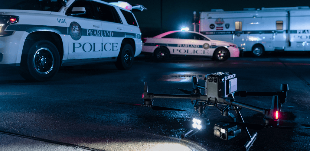 The M300 RTK can be integrated with third-party sensors, such as a bright spotlight.