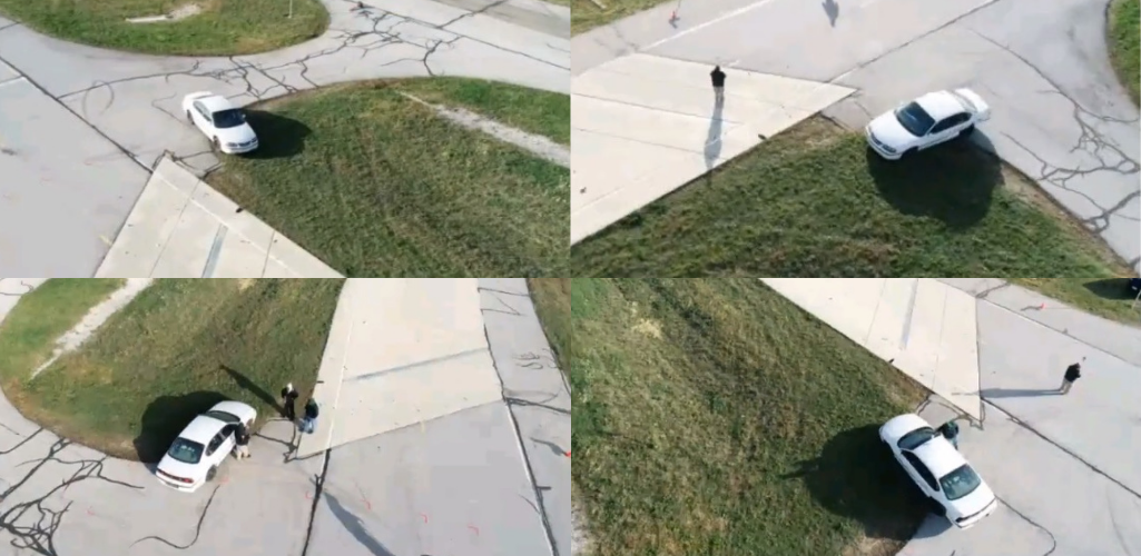 A drone can orbit each vehicle and collect a library of images from the crash.