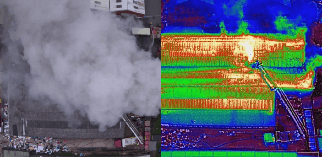 The image on the left shows the scene of the fire from above, but the thermal image on the right shows the fire hotspots and sees through smoke.