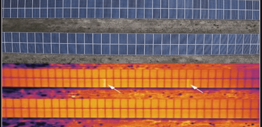 A thermal imaging drone can highlight defects in solar panels.