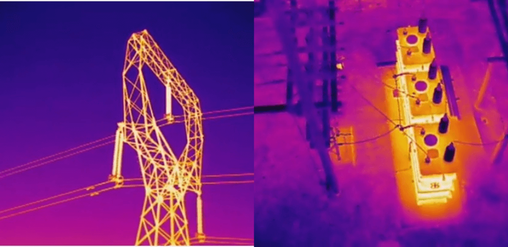 A thermal drone can be used for utility inspection.