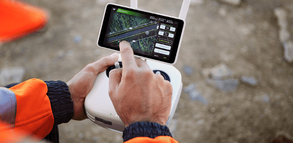 The Phantom 4 RTK has a remote controller with built-in screen.