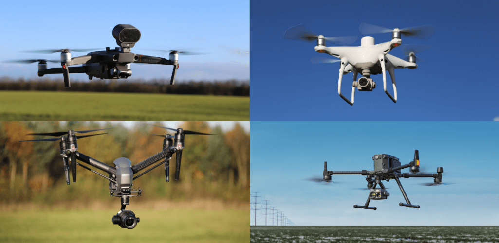 A selection of DJI's range of commercial platforms, including the Phantom 4 RTK and M300 RTK,