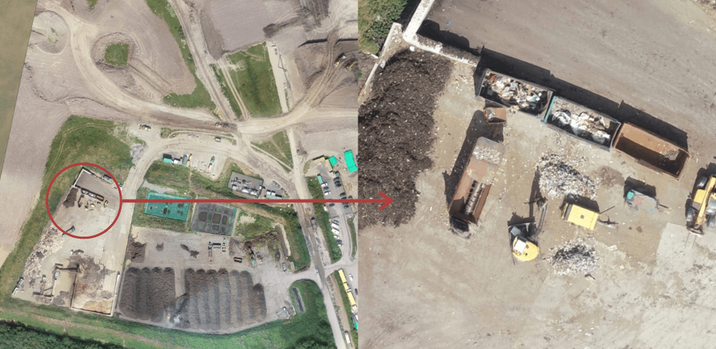 Use drone data to collect an overview of a site, and then zoom in on specific sections.