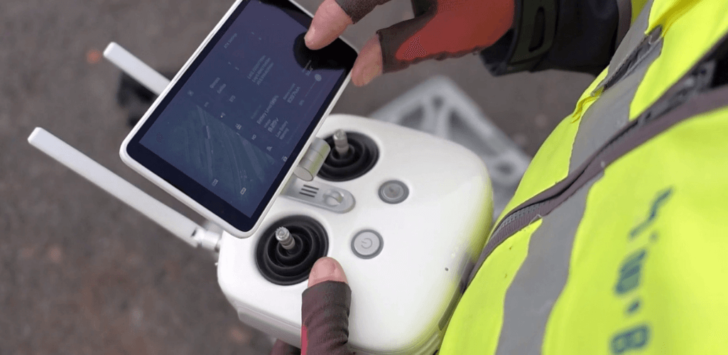 The Phantom 4 RTK's controller has a built-in screen.