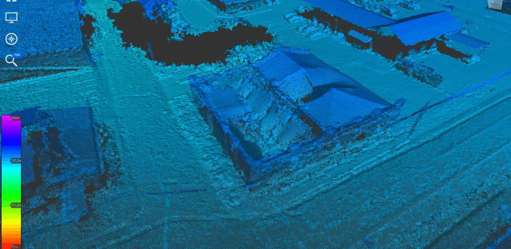 A point cloud collected from the Phantom 4 RTK.