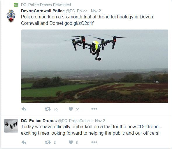 Devon and Cornwall Police drone tweet