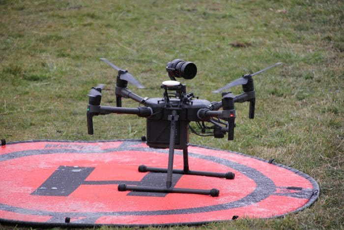 The DJI Zenmuse X5S mounted on top of an M200 Series drone.