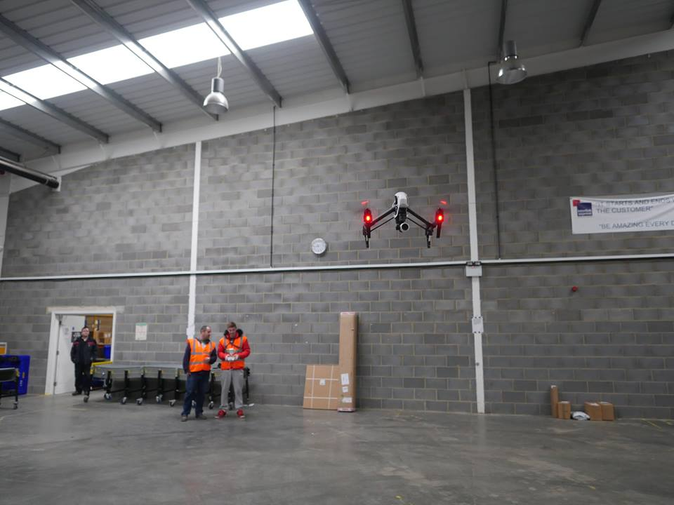 Flying a DJI Inspire 1 in our test warehouse