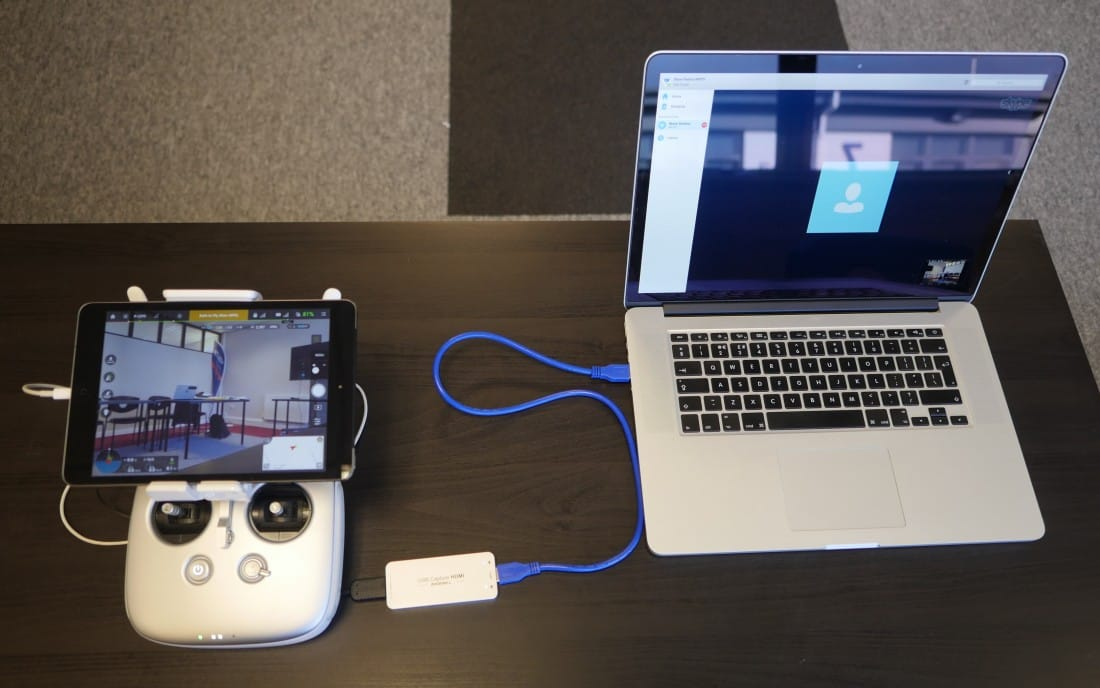 Inspire 1 Pro controller connected to a laptop
