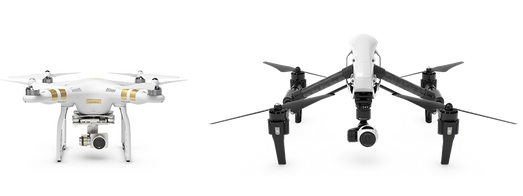 Phantom 3 Professional and the Inspire 1