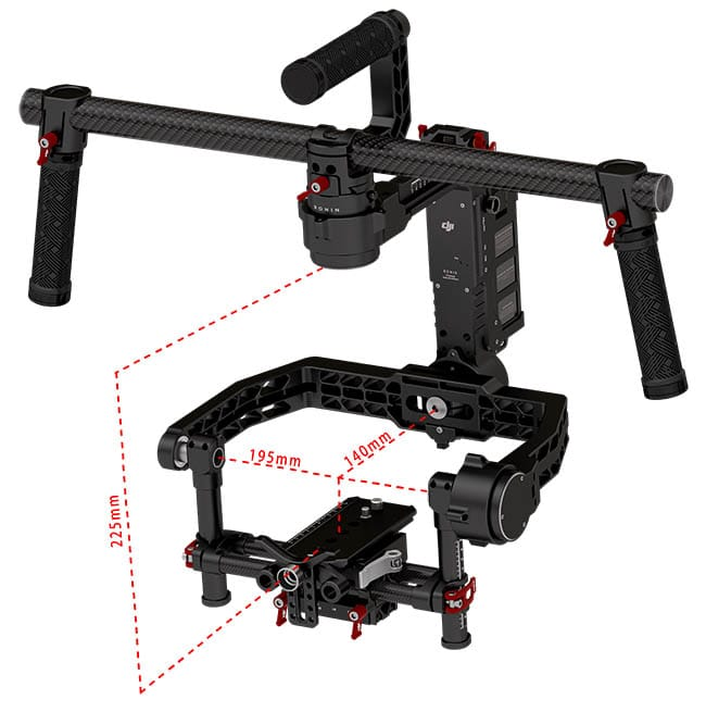 The maximum camera dimensions on a DJI Ronin