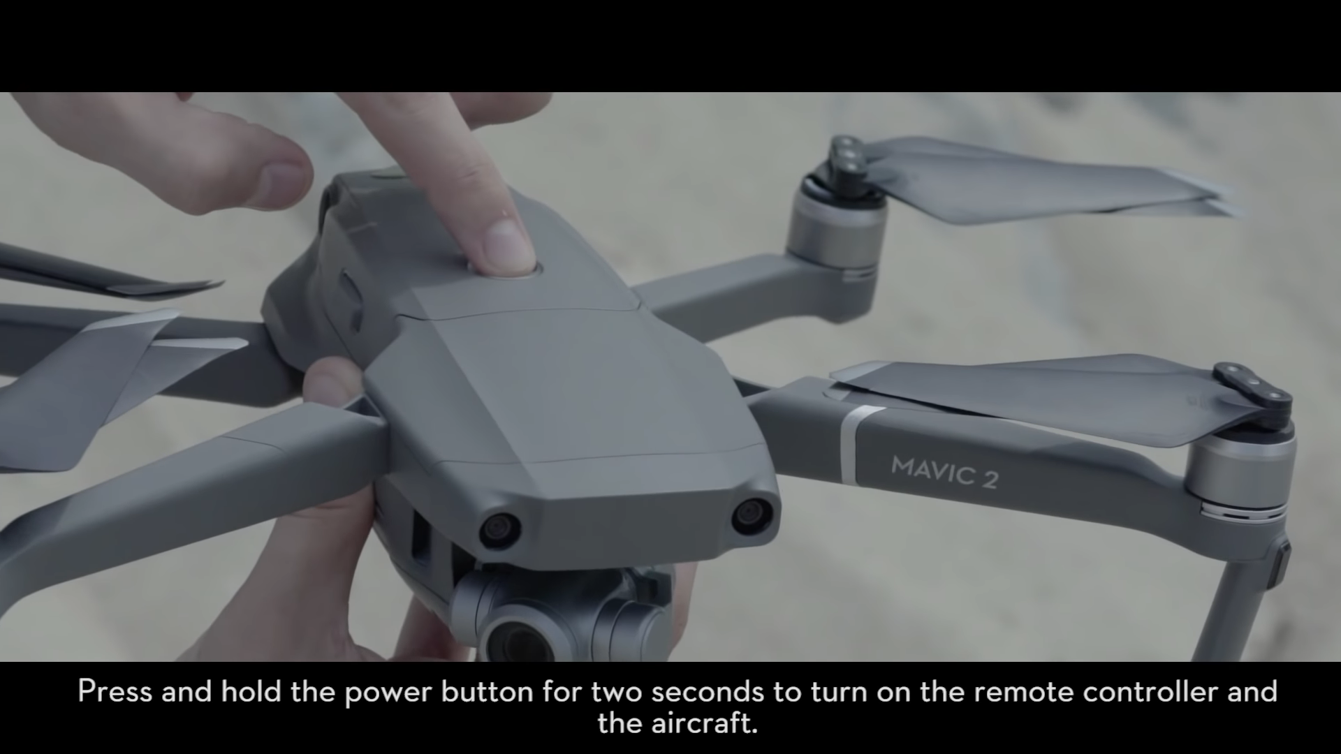 Turn on Mavic 2 drone by holding power button