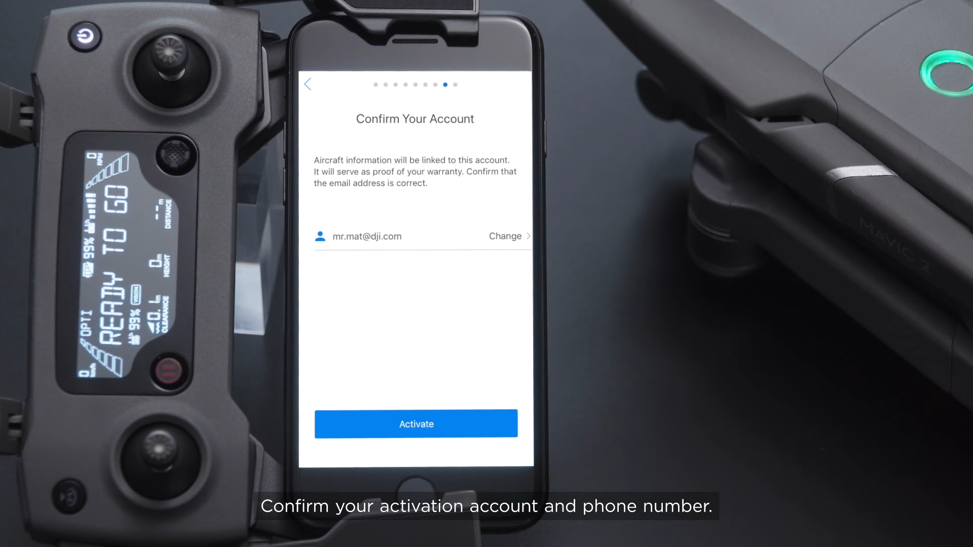 Create a DJI account to finish activating