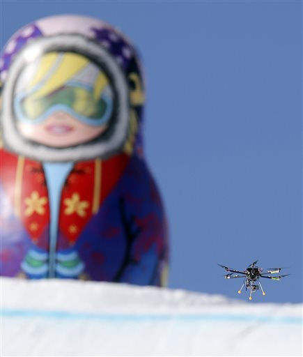 A camera drone at the 2014  Winter Olympics in Sochi. (AP Photo/Sergei Grits)