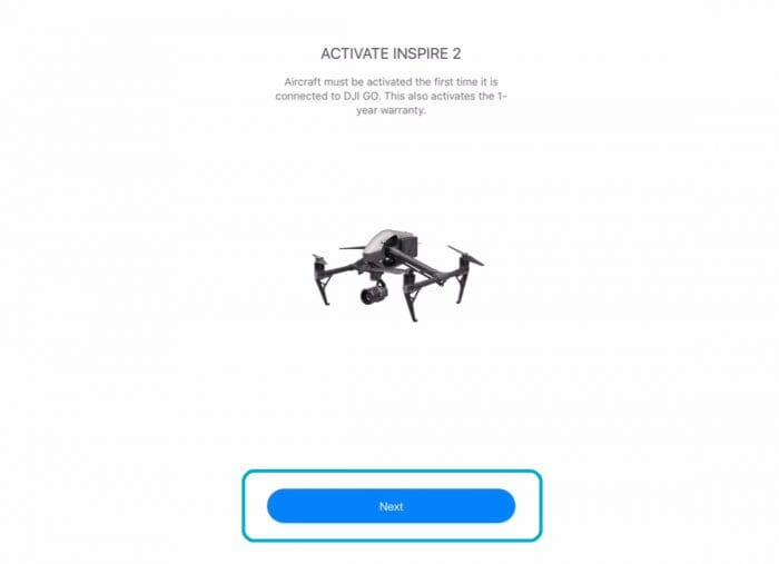 Click Next in the DJI GO App