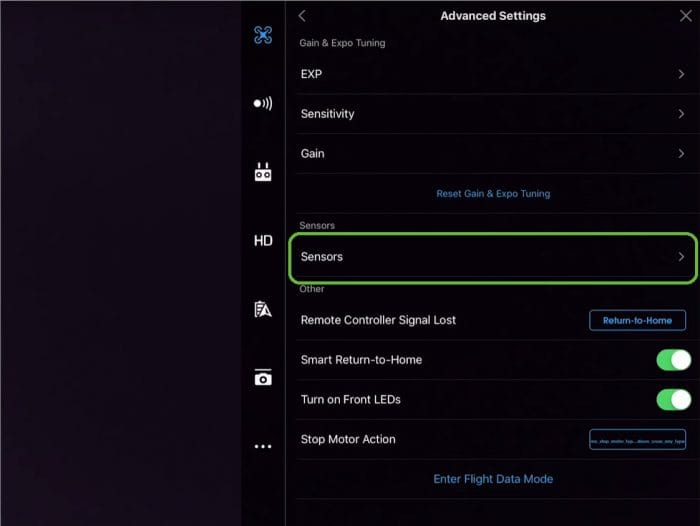 Click the Sensors Option