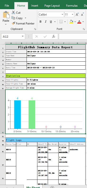 FlightHub - Excel Export Example