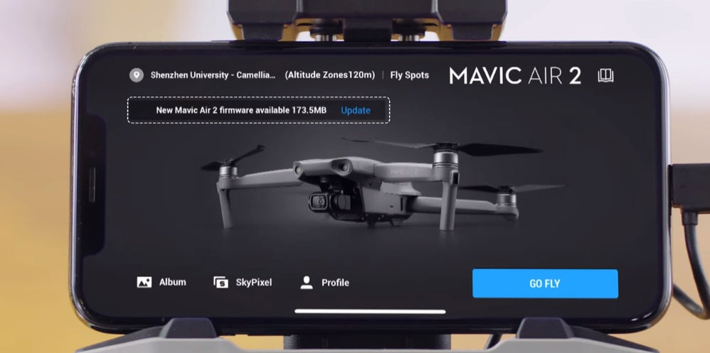 The DJI Fly app will check for new firmware updates automatically.