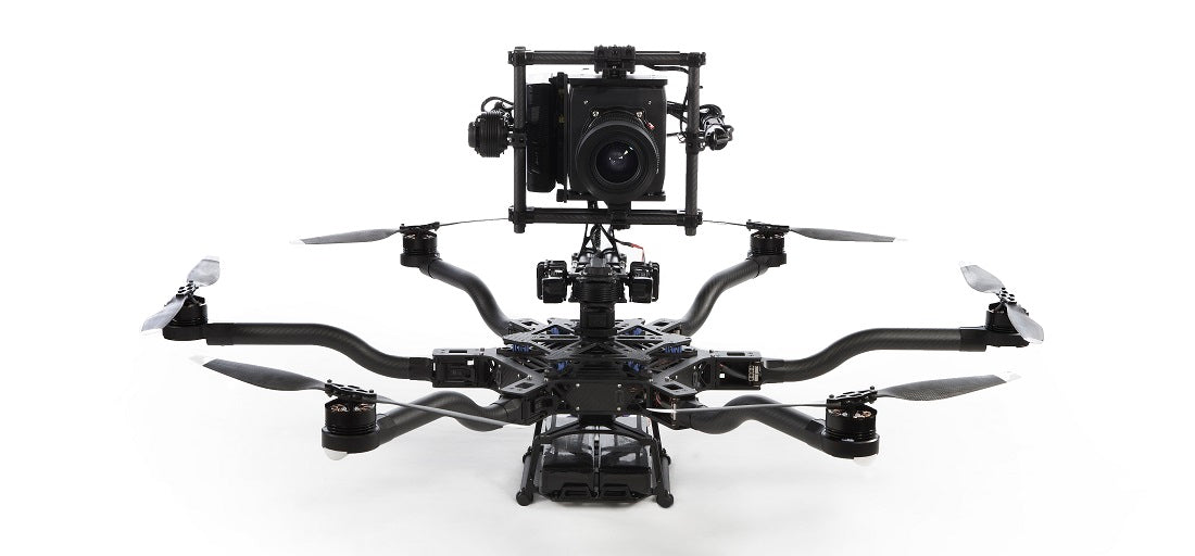 The Movi 5 mounted on the top of the Freefly ALTA.